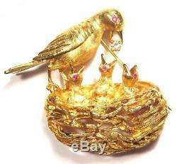 Vintage Mother Bird with Baby Nest Animal 14K Gold FJG Brooch Pin. Diamond, Ruby