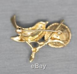 Vintage Mother Bird with Ruby Eye and Pearl Nest Pin Brooch 14k Yellow Gold