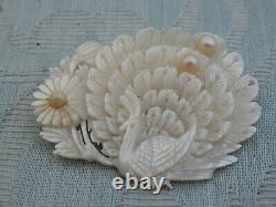 Vintage Mother of Pearl Bird & Chrysanthemum Ladies Brooch, super condition