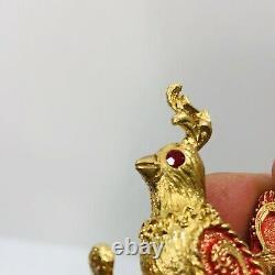 Vintage Mylu Partridge in Pear Tree Brooch Christmas Bird Pin Swarovski Crystal