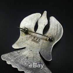 Vintage NAVAJO Hand-Stamped Sterling Silver TURQUOISE Peyote Bird PIN/BROOCH