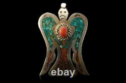 Vintage Native American Sterling Coral Peyote Water Bird Pin Brooch A32095
