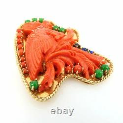 Vintage Natural Coral Jadeite Jade & Lapis Carved Bird 14K Yellow Gold Brooch