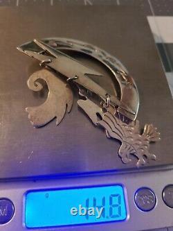 Vintage Navajo Cj Sterling Silver Brooch With Eagles Birds Dangles Rare 925