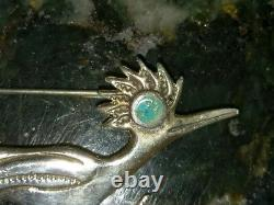 Vintage Navajo Silver Turquoise Roadrunner Brooch Fred Harvey Native American