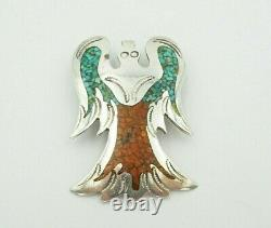 Vintage Navajo Sterling Silver Turquoise And Coral Peyote Bird Brooch Pendant
