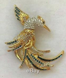 Vintage Nolan Miller Sapphire & Clear Crystal Rhinestone Heron Bird Pin Brooch