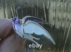Vintage Norwegian Sterling Silver & Enamel Swallow Bird Brooch Hans Myre Norway