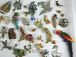 Vintage Now Brooches Pins Brooch Lot Enamel Rhinestone Animals Birds Estate #1