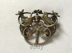 Vintage OMG Ola Gorie Sterling Silver Love birds Dove Brooch pin. 1 3/8