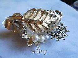 Vintage OOAK Collage Brooch Birds Flowers Rhinestones Crystals Pearls