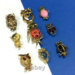 Vintage OWL Bird BROOCH LOT Enamel Signed Jelly Belly Rhinestone Cabochon CC2ZL