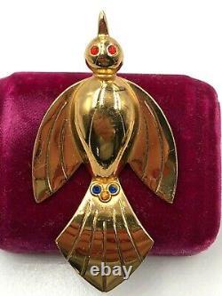 Vintage Old Coro Art Deco Bird Colorful Rhinestones Vermeil Fabulous Brooch Pin