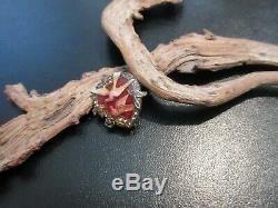 Vintage PIERRE BEX Small Love Birds Sweetheart Brooch Red Hand Laid Enamel