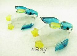 Vintage Pair of Lucite Reverse Carved Painted Mallard Ducks Bird Brooches Pins