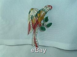 Vintage Parrot Bird Enamel Pot Metal Rhinestone Pin Brooch Made in USA