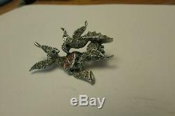 Vintage Paste Rhinestone Birds on Branch Nest Figural 1940's Brooch Bin