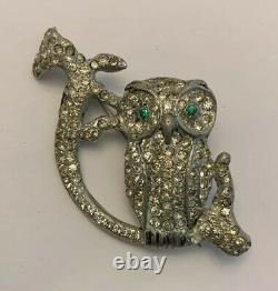 Vintage Pave Rhinestone Bird Brooch Art Deco Owl on Branch Rare Figural