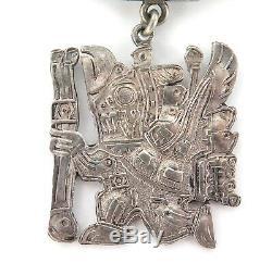 Vintage Peru Peruvian Plata 900 Silver Brooch. Mayan / Incan Bird God