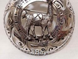 Vintage Peruvian 925 Sterling Silver Llama & Inca Bird Lg Round Clasp Pin Brooch