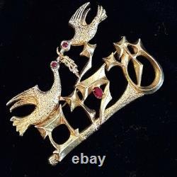 Vintage Pin Brooch 2 Birds Branch Gold Red Rhinestone Eyes Leaf 3 Long