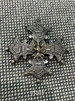 Vintage Possibly Antique German / Prussian Cross Pin Brooch Pendant w Eagle Bird