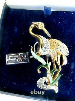 Vintage Rare Attwood Sawyer 22ct Gold Plated Bird Stork Crystal Brooch Pin