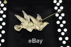 Vintage Repousse Flying Birds Pair 2 Doves Two Brooch Pin Sterling Silver