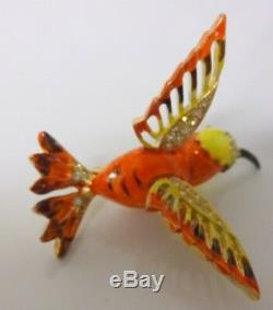 Vintage Retro 50s-60s Enamel Rhinestone Cute Hummingbird Bird Pin Brooch