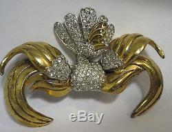 Vintage Rhinestone Bird Brooch PIN MASSIVE Designer Rhodium 1940 Figural 3-D 3.5