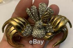 Vintage Rhinestone Bird Brooch Pin Designer 1940's Figural Jewelry Rare