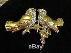 Vintage Rhinestone Bird Brooch Pin Figural Nest Tree Branch Birds 3+