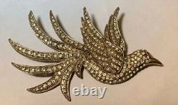 Vintage Rhinestone Bird Pin Brooch Figural 1940s Huge & Dimensional