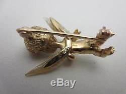 Vintage Ruser 14K Yellow Gold natural Pearl Cherub Child Angel Pin Brooch bird