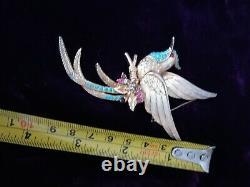 Vintage SPHINX Brooch Turquoise Crystals & Rhinestone BIRD OF PARADISE gold tone