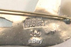 Vintage STERLING Silver 980 VICTORIA TAXCO Flying SWALLOW Bird BROOCH Pin NEAT