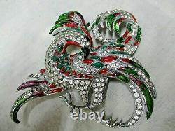 Vintage Signed Baucher Rare! Rise Of Phoenix Rooster Bird Brooch Pin Large