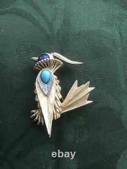 Vintage Signed Boucher Faux-Turquoise Rhinestone Enameled Statement Bird Brooch
