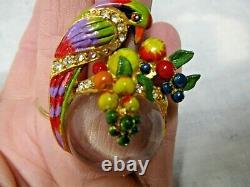 Vintage Signed Boucher Parrot Bird Brooch Pin Enamel Fruit Salad Jelly Belly