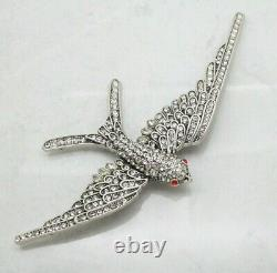 Vintage Signed Ciner Statement Swallow Crystal Bird Silver BROOCH Pin Jewellery