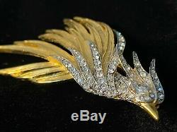 Vintage Signed Givenchy Rhinestone Abstract Flying Bird Gold Tone Brooch Pin