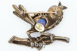 Vintage Signed Hattie Carnegie Bird Brooch Pin/ Turquoise & Lapis (Glass) Stones
