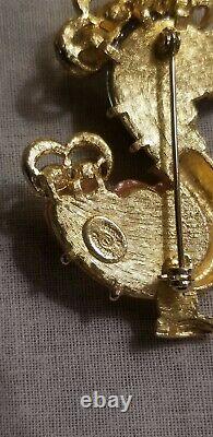 Vintage Signed Hattie Carnegie Thermoset Rhinestone Bird Brooch