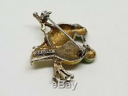 Vintage Signed KRAMER Figural Pair of Love Birds Brooch Pin Enamel & Rhinestones