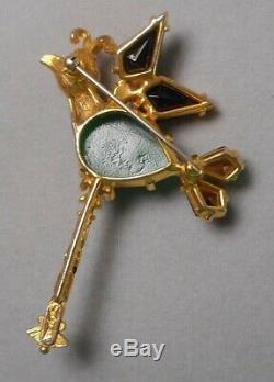 Vintage Signed Schiaparelli Stylized Bird Brooch Pin Rhinestone & Faux Pearl