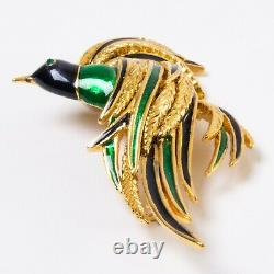Vintage Signed Sphinx Bird Pin Gold Tone with Blue & Green Enamel 2.75 Brooch