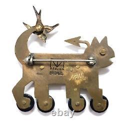 Vintage Signed Thomas Mann Bronze Mixed Metals Roller-skate Cat Bird Pin Brooch