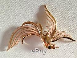 Vintage Signed Trifari Enamel Bird Of Paradise Brooch Pin Large
