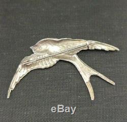 Vintage Silver ENAMEL SWALLOW BROOCH Sterling Large 2 Bird Pin