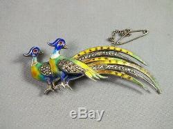 Vintage Silver Enamel & Marcasite Exotic Birds Pin Brooch